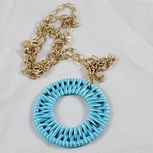 New Marlyn Schiff gold tone blue weave necklace